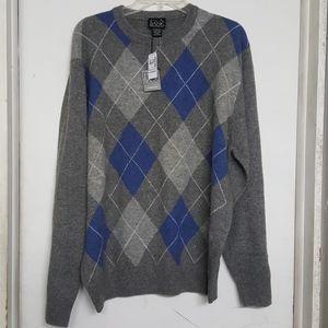 New Jos A Bank Sweater Gray Blue Diamond Print